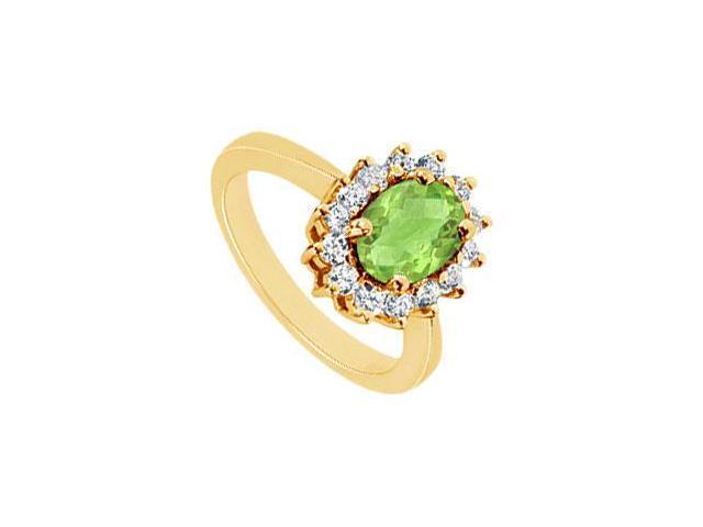 Peridot and Diamond Ring  14K Yellow Gold - 1.50 CT TGW