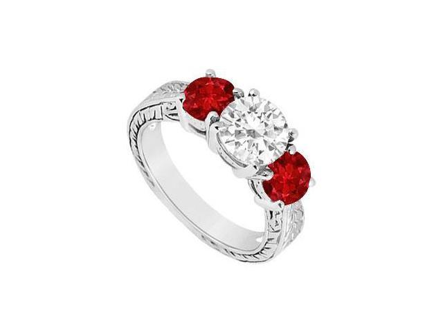 Three Stone Ruby and Diamond Ring  14K White Gold - 1.50 CT TGW