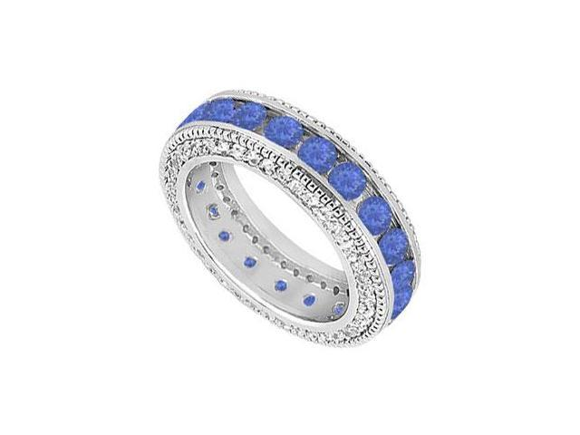 Sapphire and Diamond Wedding Band  14K White Gold - 2.25 CT TGW