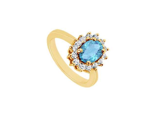 Blue Topaz and Diamond Ring  14K Yellow Gold - 1.50 CT TGW