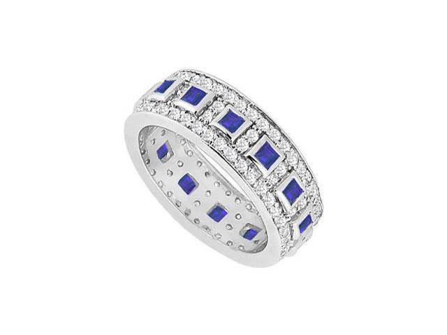 Sapphire and Diamond Wedding Band  14K White Gold - 1.75 CT TGW