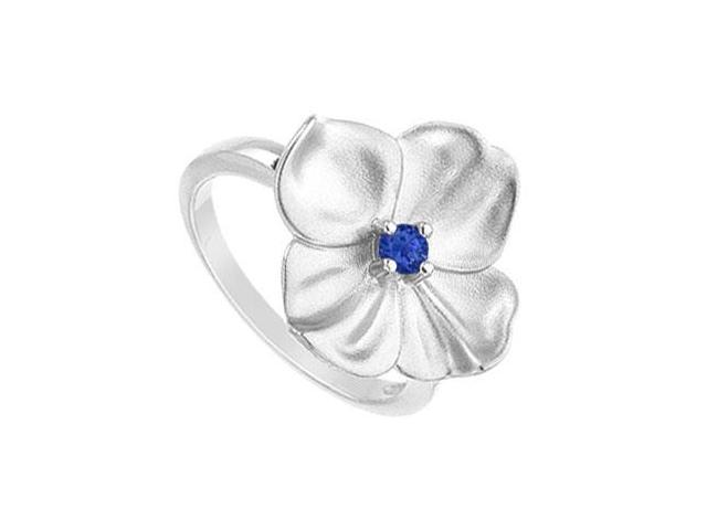 Diffuse Sapphire Flower Ring 925 Sterling Silver 0.10 Carat Total Gem Weight