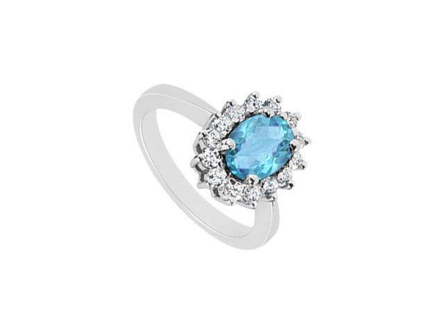 Blue Topaz and Diamond Ring  14K White Gold - 1.50 CT TGW
