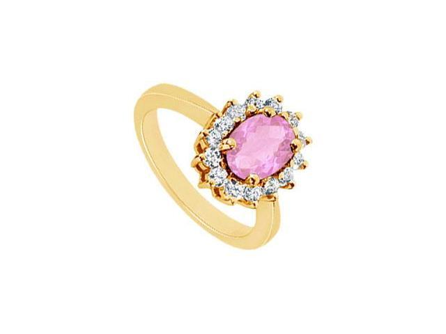Pink Topaz and Diamond Ring  14K Yellow Gold - 1.50 CT TGW