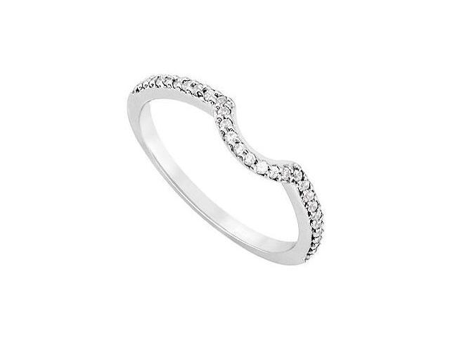 Diamond Curve Wedding Band  14K White Gold 0.15 CT Diamonds
