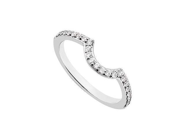 Diamond Curve Wedding Band  14K White Gold 0.25 CT Diamonds