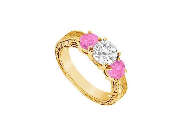 Three Stone Pink Sapphire and Diamond Ring  14K Yellow Gold - 1.00 CT TGW