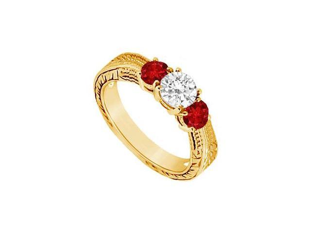 Three Stone Ruby and Diamond Ring  14K Yellow Gold - 0.33 CT TGW