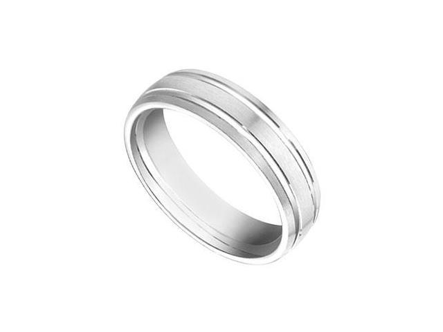 6MM Comfort Fit Fancy Half Round Wedding Band  14K White Gold