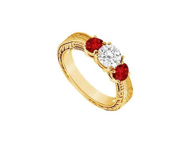 Three Stone Ruby and Diamond Ring  14K Yellow Gold - 0.50 CT TGW