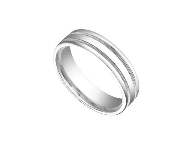 6MM Comfort Fit Fancy Milgrain Wedding Band  14K White Gold