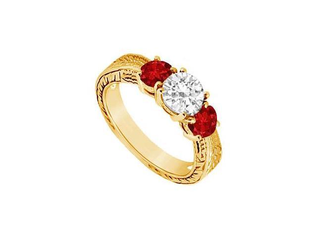 Three Stone Ruby and Diamond Ring  14K Yellow Gold - 0.75 CT TGW