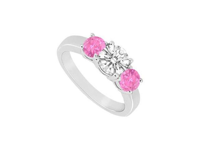 10K White Gold Created Pink Sapphire and Cubic Zirconia Three Stone Ring 1.00 CT TGW
