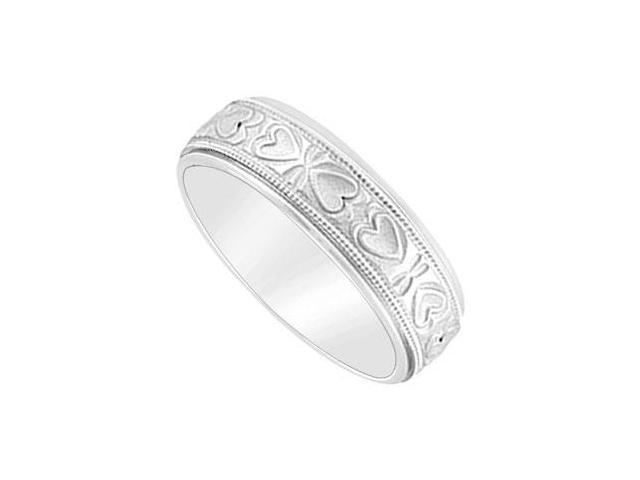 6MM Comfort Fit Fancy Heart Design Wedding Band  14K White Gold