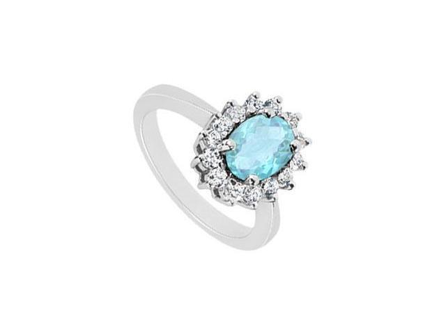 Aquamarine and Diamond Ring  14K White Gold - 1.50 CT TGW