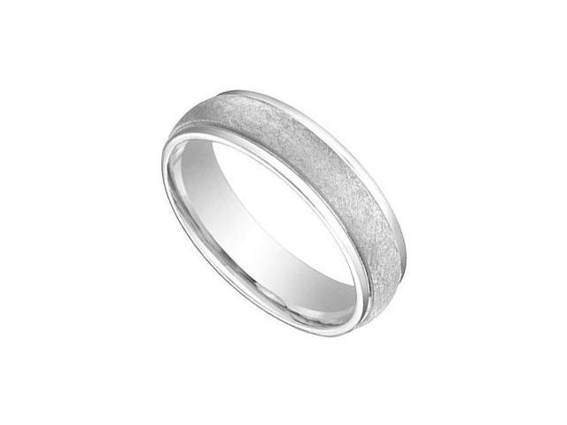 6MM Comfort Fit Fancy Wedding Band  14K White Gold