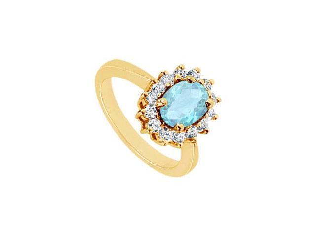 Aquamarine and Diamond Ring  14K Yellow Gold - 1.50 CT TGW