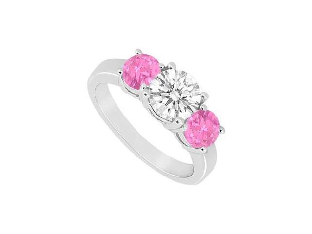 Created Pink Sapphire and Cubic Zirconia Three Stone Ring 10K White Gold 1.50 CT TGW