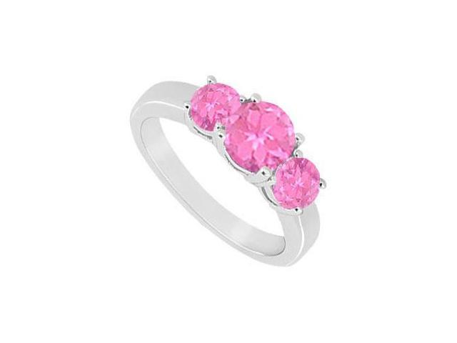 Created Pink Sapphire Three Stone Ring 10K White Gold 1.50 CT TGW