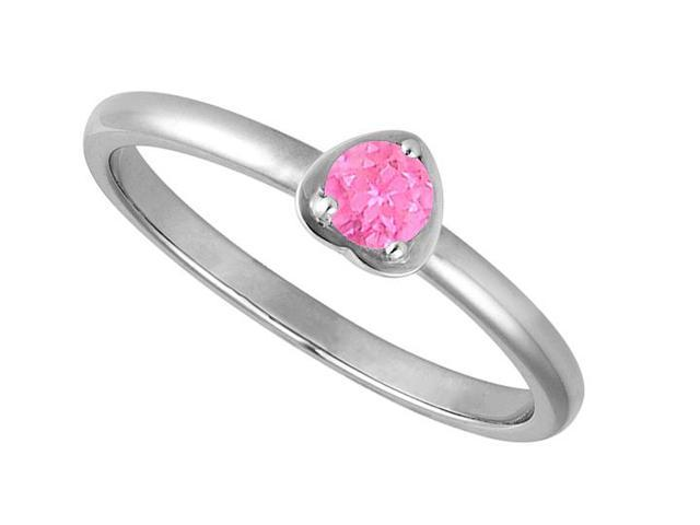 Polished Heart Design in 14K White Gold with 1 Carat Round Reconstituted Pink Sapphire Ring