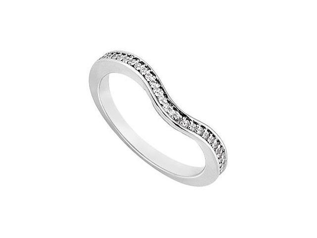Diamond Semi Eternity Channel set Wedding Band 14K White Gold 0.15 CT Diamonds