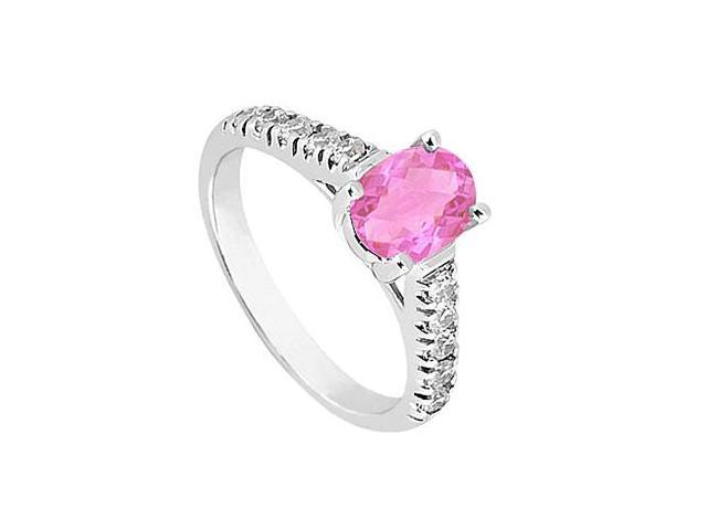 Simulated Pink Sapphire Fashion Ring with Side Triple AAA Quality CZ in 14K White Gold 1 Carat