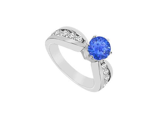 Diffuse Sapphire and Cubic Zirconia Engagement Ring 10K White Gold 1.75 CT TGW
