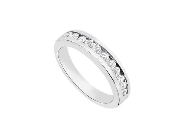 Channel set Diamond Half Eternity Wedding Band 14K White Gold 0.35 CT Diamonds