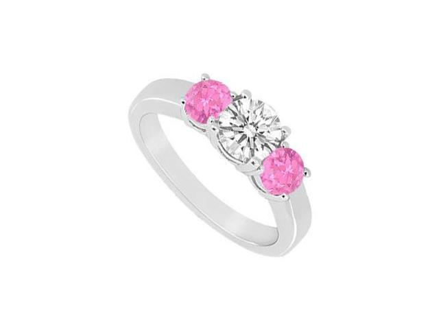 Three Stone Pink Sapphire and Diamond Ring  14K White Gold - 0.50 CT TGW