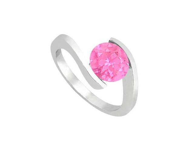 14K White Gold Fashion Pink Sapphire Solitaire Ring of One Carat Total Gem Weight