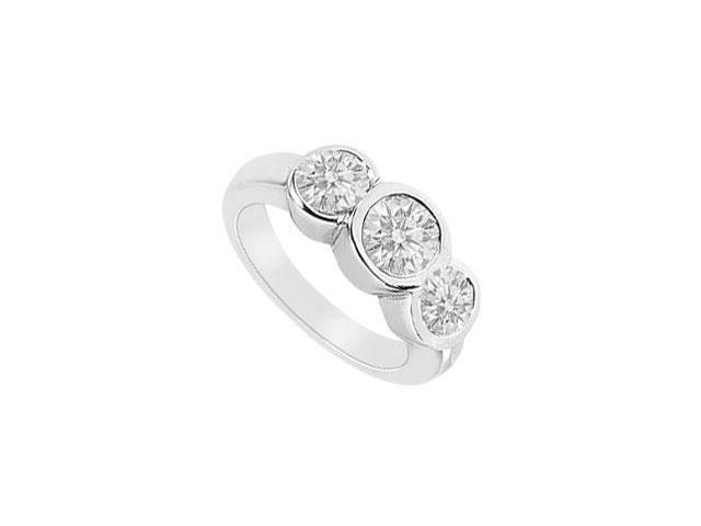 Three Stone Diamond Ring  14K White Gold - 1.75 CT Diamonds