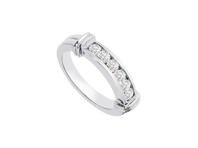 Channel set Diamond Semi Eternity Wedding Band 14K White Gold 0.25 CT Diamonds