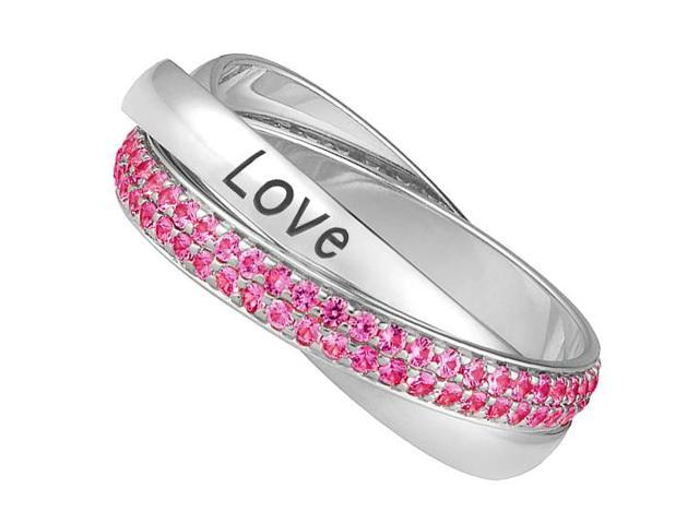 Three Intertwined Bands of 2 Carat Pink Sapphire and Love Engraved in 14K White Gold Ring