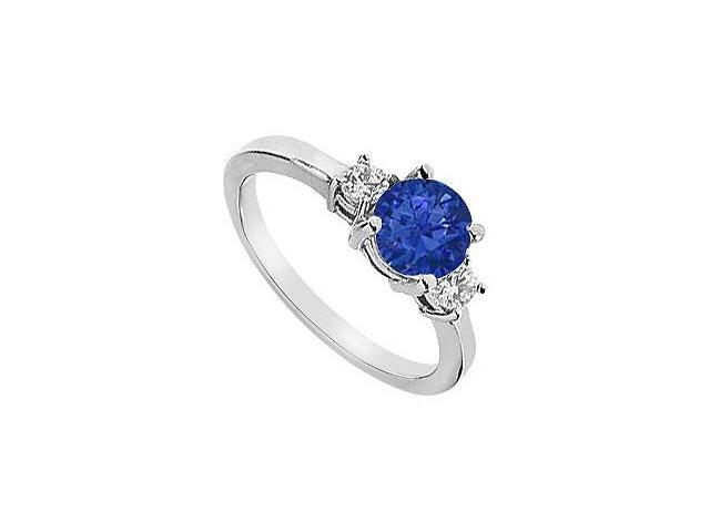 Three Stone Diffuse Sapphire and Cubic Zirconia Engagement Ring 10K White Gold 1.25 CT TGW