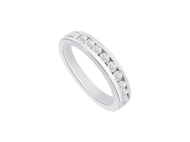 Diamond Semi Eternity Channel set Wedding Band 14K White Gold 0.40 CT Diamonds