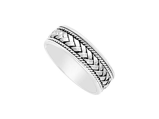 7MM Comfort Fit Fancy Braided and Rope Wedding Band  14K White Gold