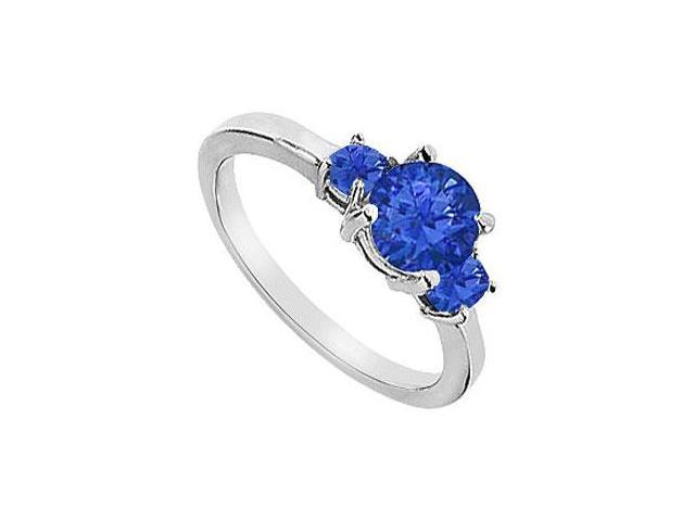Three Stone Diffuse Sapphire Engagement Ring 10K White Gold 1.25 CT TGW