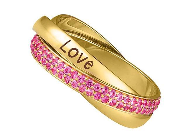 High Polished 14K Yellow Gold Three Bands Intertwined 2 Carat Pink Sapphire and LOVE Ring