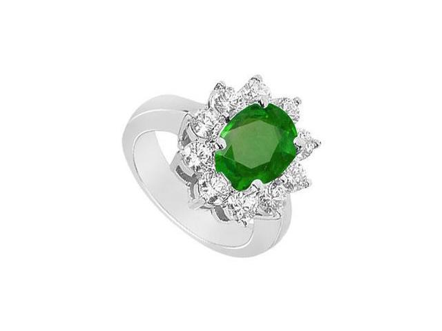 Frosted Emerald Fine Ring in 10K White Gold with Cubic Zirconia 3.25 Carats TGW