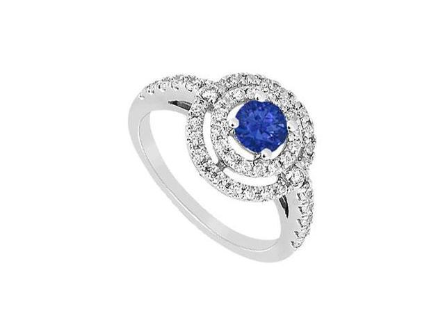 Diffuse Sapphire and Cubic Zirconia Ring 10K White Gold 1.75 CT TGW