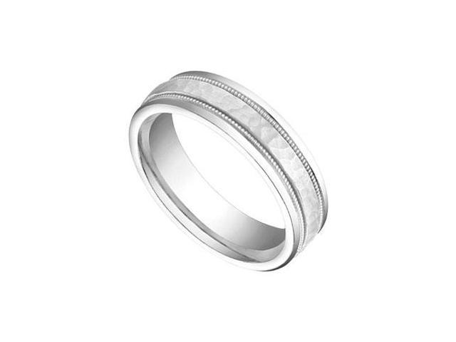 6MM Comfort Fit Fancy Rope Wedding Band  14K White Gold