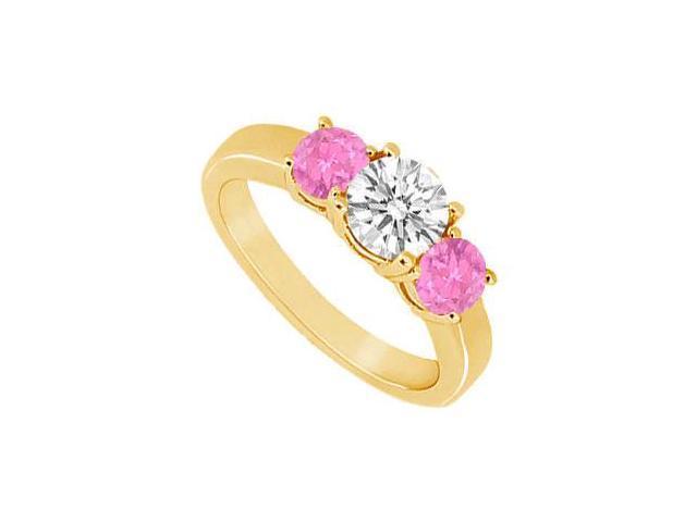Three Stone Pink Sapphire and Diamond Ring  14K Yellow Gold - 0.75 CT TGW