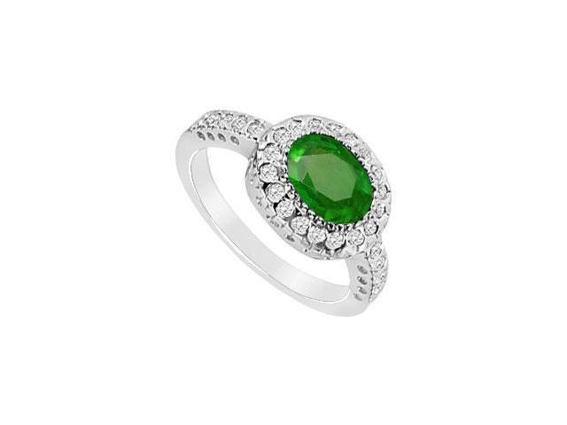 Pave Set Cubiz Zirconia and Frosted Emerald Ring in 10K White Gold with 1.75 Carats TGW