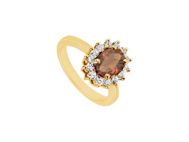 Smoky Topaz and Diamond Ring  14K Yellow Gold - 1.50 CT TGW