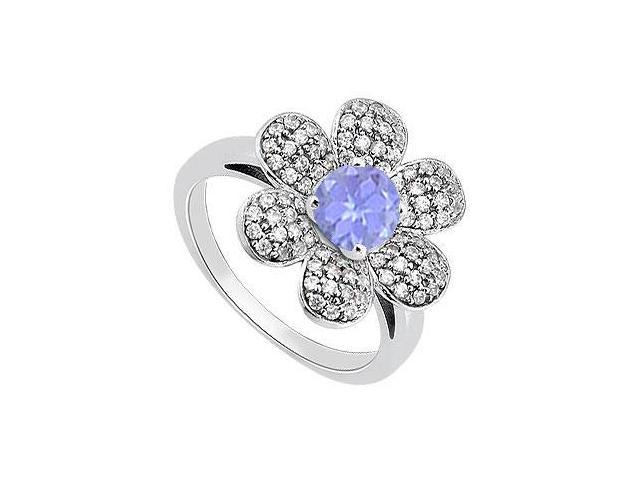 Tanzanite Flower Style Ring Accented Diamonds in 14K White Gold 1.50 Carat Total Gem Weight
