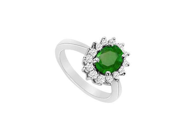Frosted Emerald and Cubic Zirconia Ring in 10K White Gold 1.75 Carat TGW