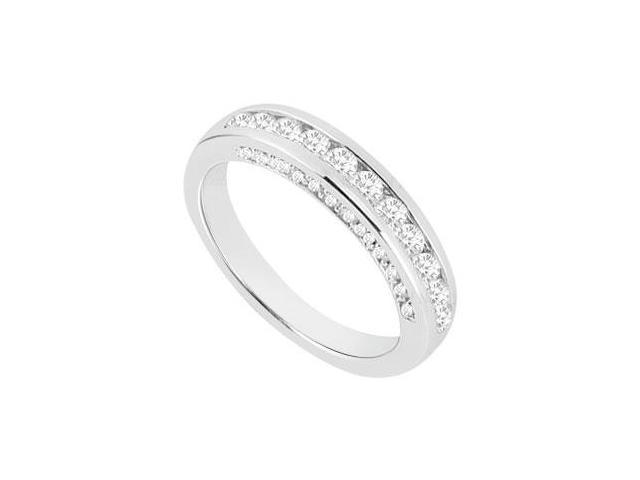 Diamond Semi Eternity Channel set Wedding Band 14K White Gold 0.70 CT Diamonds