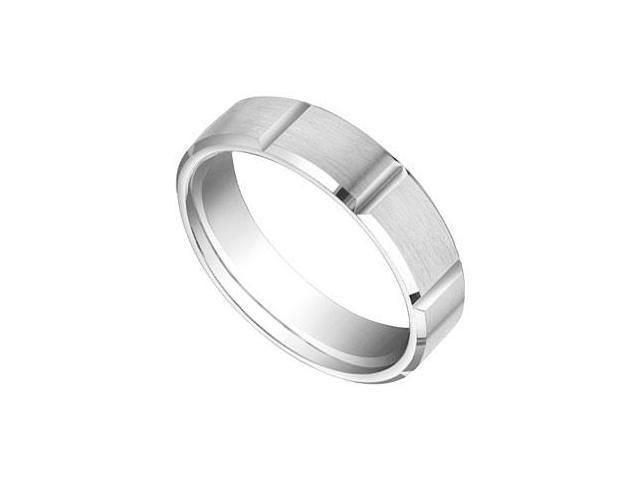 6MM Comfort Fit Fancy Brick Design Wedding Band  14K White Gold