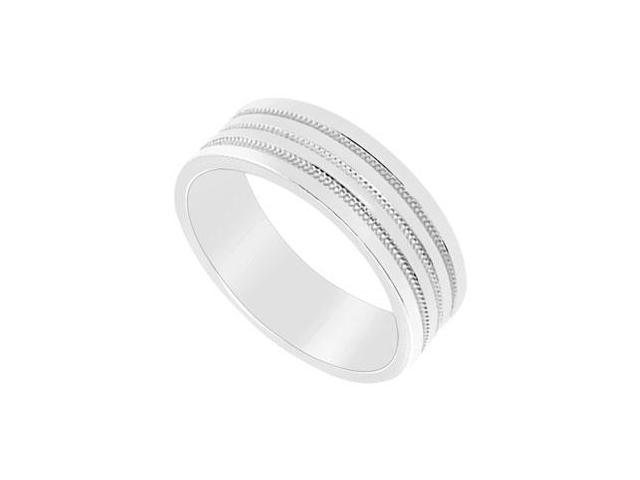 6MM Comfort Fit Fancy Milgrain Wedding Band  14K White Gold