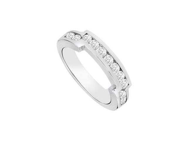 Diamond Channel set Wedding Band 14K White Gold 0.35 CT Diamonds